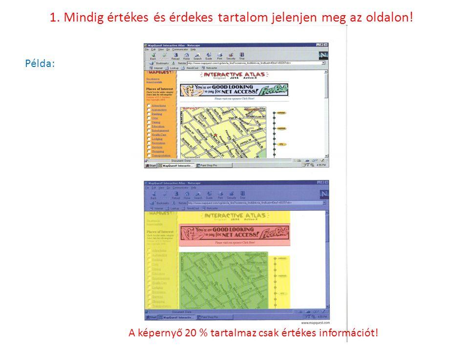 Példa: A képernyő 20 % tartalmaz csak értékes információt!