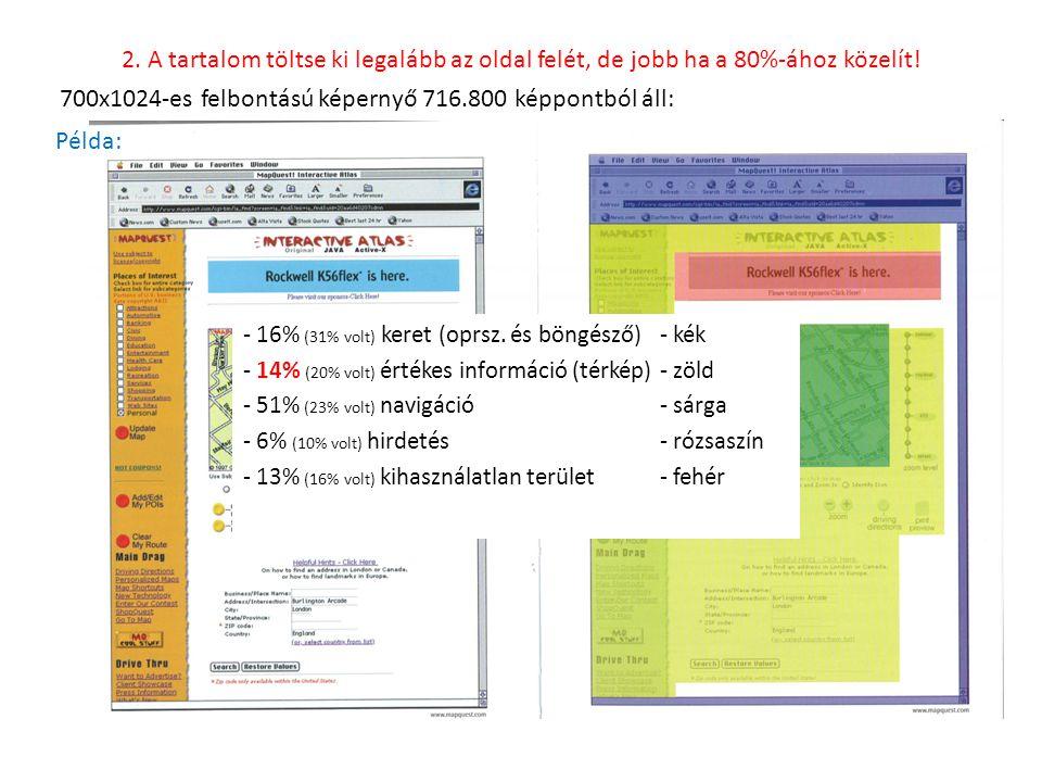 - 16% (31% volt) keret (oprsz. és böngésző)- kék - 14% (20% volt) értékes információ (térkép)- zöld - 51% (23% volt) navigáció - sárga - 6% (10% volt)