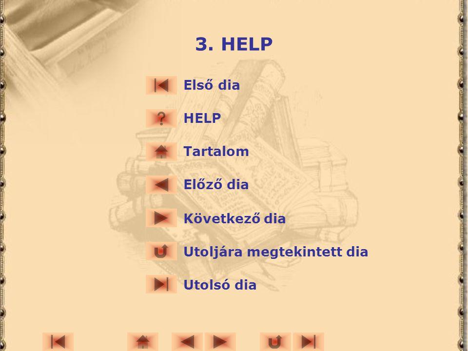 3. HELP Első dia HELP Tartalom Előző dia Következő dia Utoljára megtekintett dia Utolsó dia