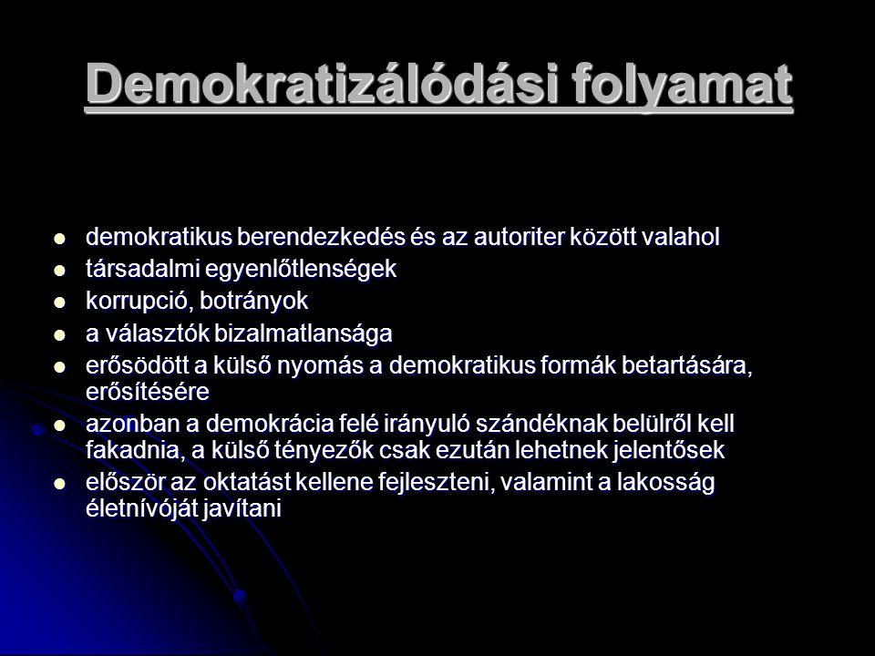 Demokratizálódási folyamat demokratikus berendezkedés és az autoriter között valahol demokratikus berendezkedés és az autoriter között valahol társada