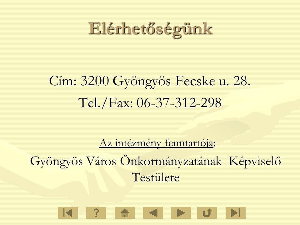 Elérhetőségünk Cím: 3200 Gyöngyös Fecske u. 28. Tel./Fax: 06-37-312-298 Az intézmény fenntartója: Gyöngyös Város ÖnkormányzatánakKépviselő Testülete