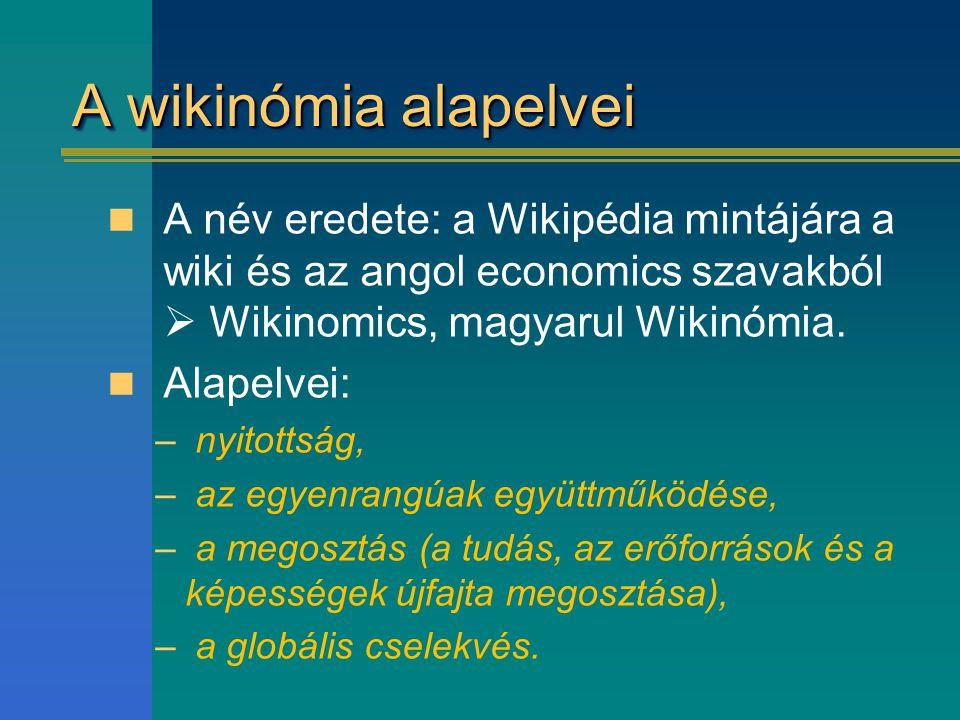 A wikinómia alapelvei A név eredete: a Wikipédia mintájára a wiki és az angol economics szavakból  Wikinomics, magyarul Wikinómia. Alapelvei: – nyito