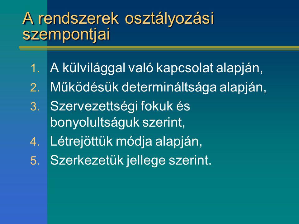A rendszerek osztályozási szempontjai 1. A külvilággal való kapcsolat alapján, 2. Működésük determináltsága alapján, 3. Szervezettségi fokuk és bonyol