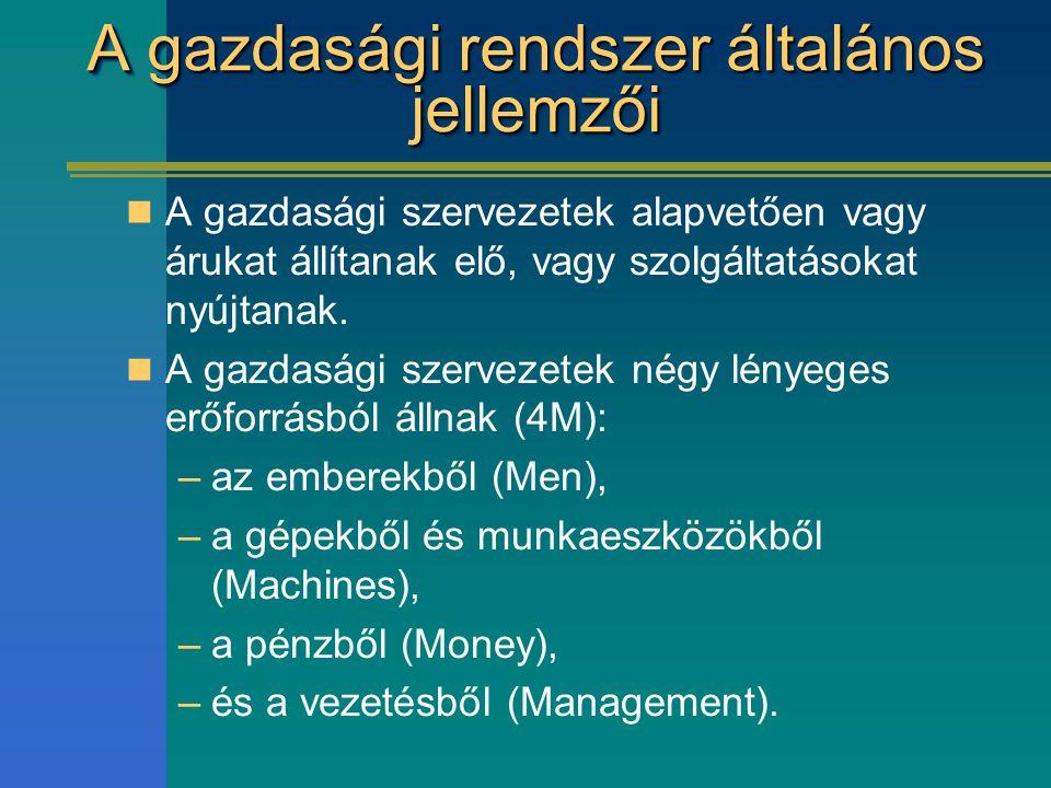 A gazdasági rendszer általános jellemzői A gazdasági szervezetek alapvetően vagy árukat állítanak elő, vagy szolgáltatásokat nyújtanak. A gazdasági sz