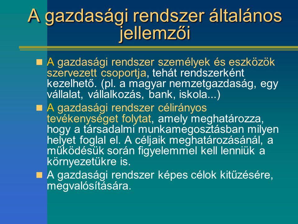 A gazdasági rendszer általános jellemzői A gazdasági rendszer személyek és eszközök szervezett csoportja, tehát rendszerként kezelhető. (pl. a magyar