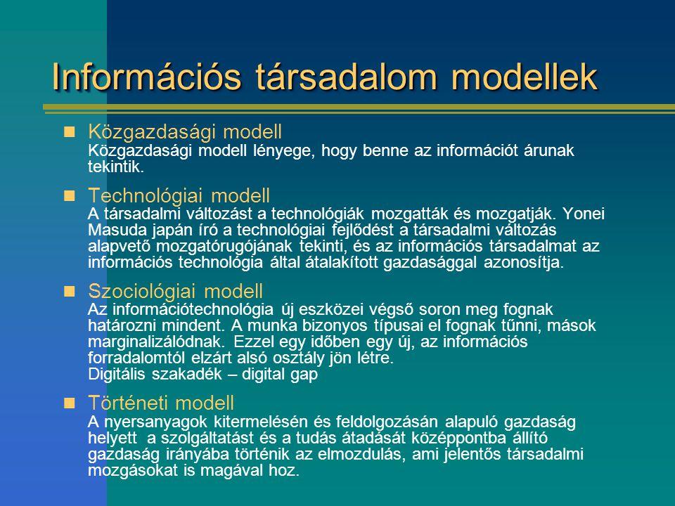 Információs társadalom modellek Közgazdasági modell Közgazdasági modell lényege, hogy benne az információt árunak tekintik. Technológiai modell A társ