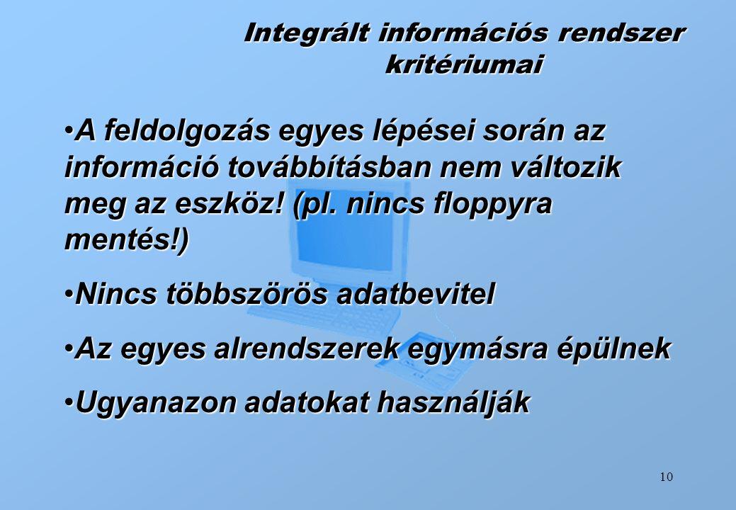10 Integrált információs rendszer kritériumai A feldolgozás egyes lépései során az információ továbbításban nem változik meg az eszköz! (pl. nincs flo