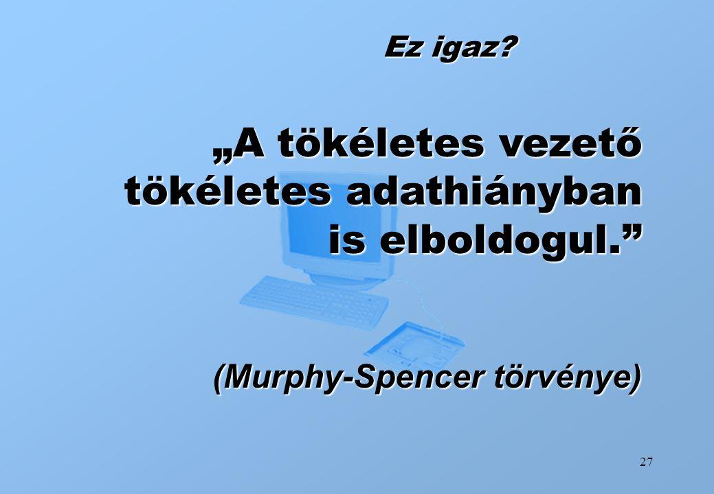 """27 Ez igaz? """"A tökéletes vezető tökéletes adathiányban is elboldogul."""" (Murphy-Spencer törvénye)"""