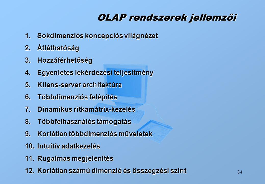 34 OLAP rendszerek jellemzői 1.Sokdimenziós koncepciós világnézet 2.Átláthatóság 3.Hozzáférhetőség 4.Egyenletes lekérdezési teljesítmény 5.Kliens-serv