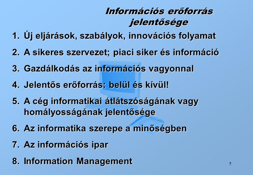 5 Információs erőforrás jelentősége 1.Új eljárások, szabályok, innovációs folyamat 2.A sikeres szervezet; piaci siker és információ 3.Gazdálkodás az i