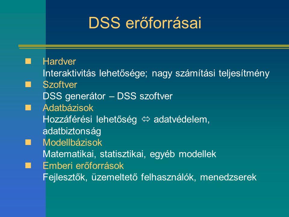DSS erőforrásai Hardver Interaktivitás lehetősége; nagy számítási teljesítmény Szoftver DSS generátor – DSS szoftver Adatbázisok Hozzáférési lehetőség