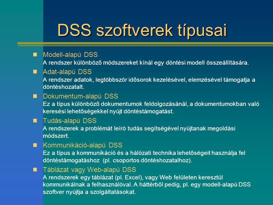 DSS szoftverek típusai Modell-alapú DSS A rendszer különböző módszereket kínál egy döntési modell összeállítására. Adat-alapú DSS A rendszer adatok, l