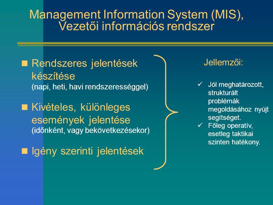 Management Information System (MIS), Vezetői információs rendszer Rendszeres jelentések készítése (napi, heti, havi rendszerességgel) Kivételes, külön