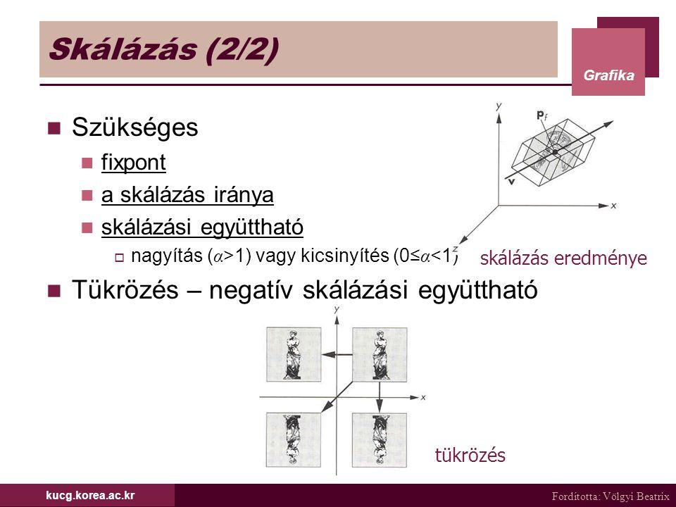 Fordította: Völgyi Beatrix Grafika kucg.korea.ac.kr Skálázás (2/2) Szükséges fixpont a skálázás iránya skálázási együttható  nagyítás ( α >1) vagy ki