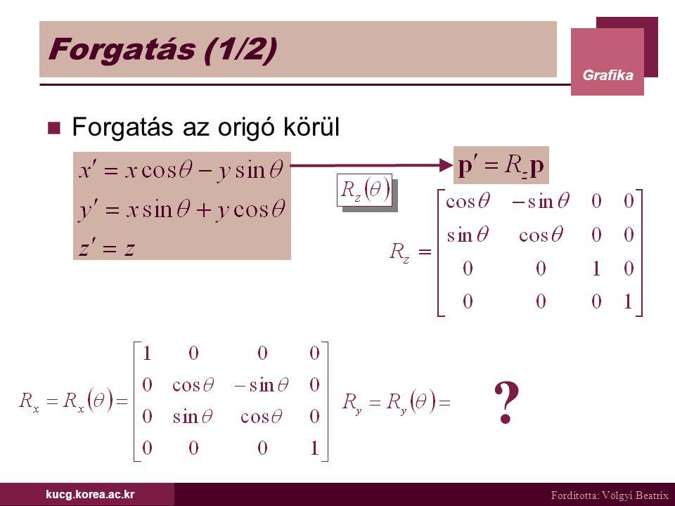 Fordította: Völgyi Beatrix Grafika kucg.korea.ac.kr Forgatás (1/2) Forgatás az origó körül ?
