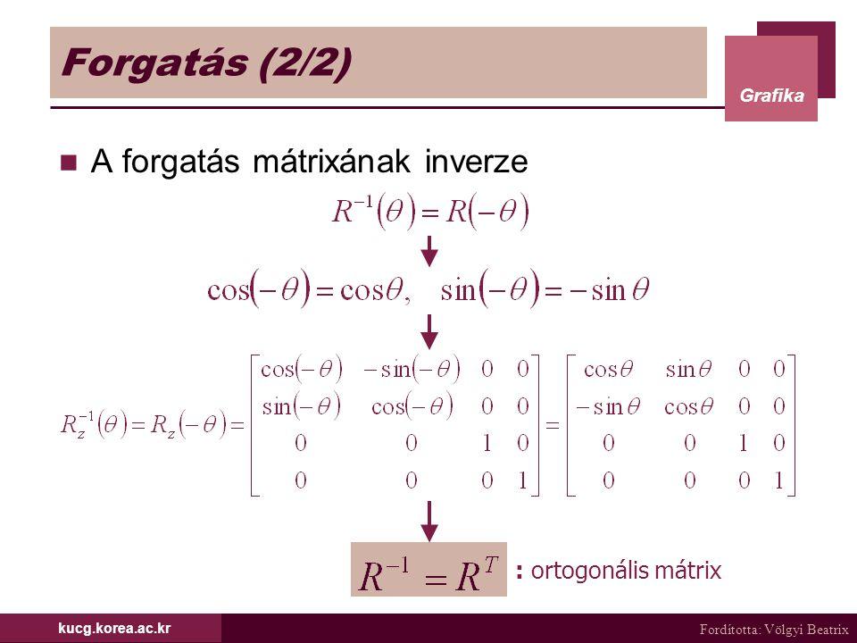 Fordította: Völgyi Beatrix Grafika kucg.korea.ac.kr Forgatás (2/2) A forgatás mátrixának inverze : ortogonális mátrix