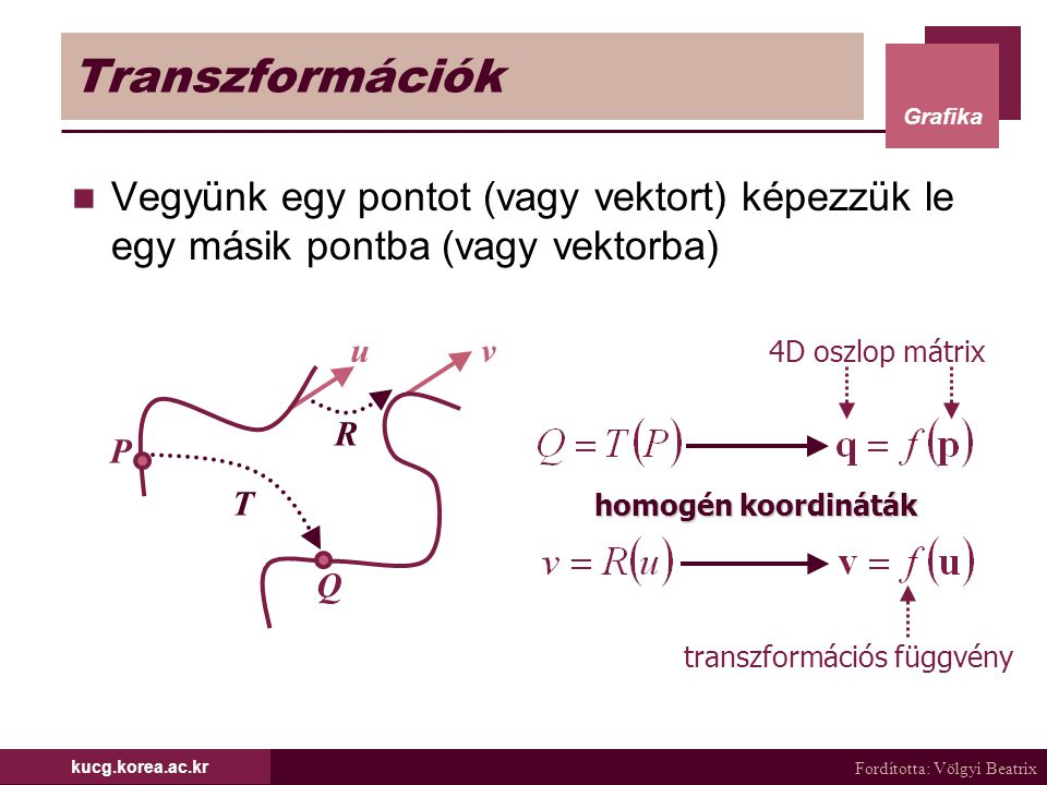 Fordította: Völgyi Beatrix Grafika kucg.korea.ac.kr Tetsz ő leges tengely körüli forgatás (2/6) Az első transzformáció a T(-p 0 ) és az utolsó a T(p 0 ) eltolás Probléma a forgatásnál Tetszőleges forgatás meg- feleltethető 3, az egyes tengelyek körüli forgatásnak Hajtsunk végre két forgatást, hogy a forgatás tengelye a z tengelynek feleljen meg  Forgassunk a z tengely körül θ szöggel a fix pontot az origóba mozgattuk