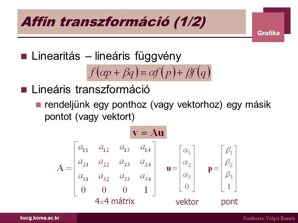 Fordította: Völgyi Beatrix Grafika kucg.korea.ac.kr Affin transzformáció (2/2) Lineáris transzformáció (folyt) egyenestartó – egyenest egyenesbe képez  az egyenesnek csak a végpontjait transzformáljuk CG-ban a transzformációk többsége affin forgatás, eltolás, skálázás, nyírás homogén koordináta affin transzformáció