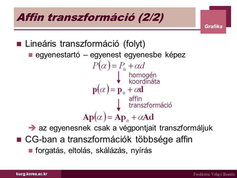 Fordította: Völgyi Beatrix Grafika kucg.korea.ac.kr Affin transzformáció (2/2) Lineáris transzformáció (folyt) egyenestartó – egyenest egyenesbe képez