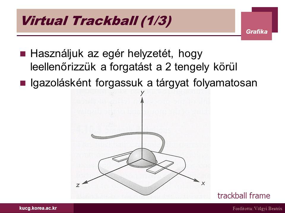 Fordította: Völgyi Beatrix Grafika kucg.korea.ac.kr Virtual Trackball (1/3) Használjuk az egér helyzetét, hogy leellenőrizzük a forgatást a 2 tengely