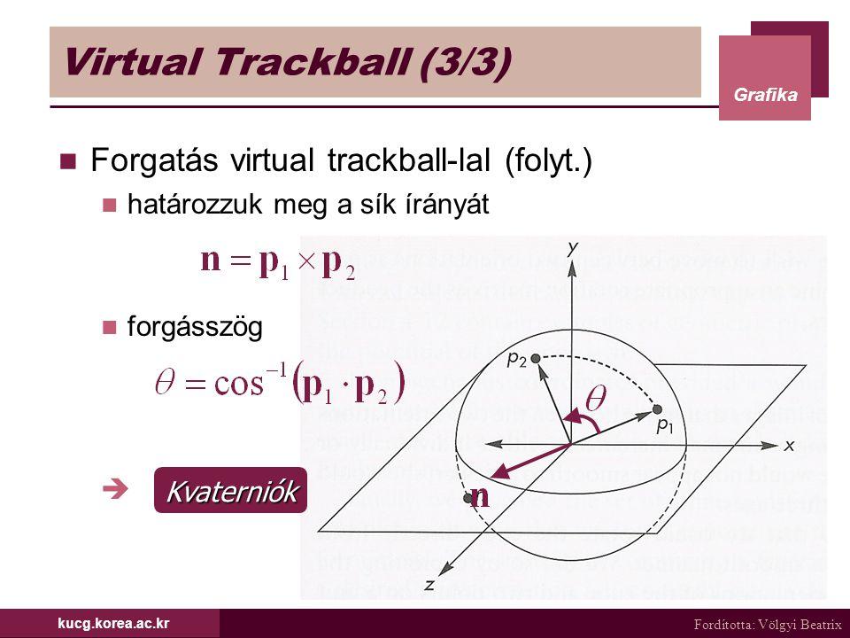 Fordította: Völgyi Beatrix Grafika kucg.korea.ac.kr Virtual Trackball (3/3) Forgatás virtual trackball-lal (folyt.) határozzuk meg a sík írányát forgá