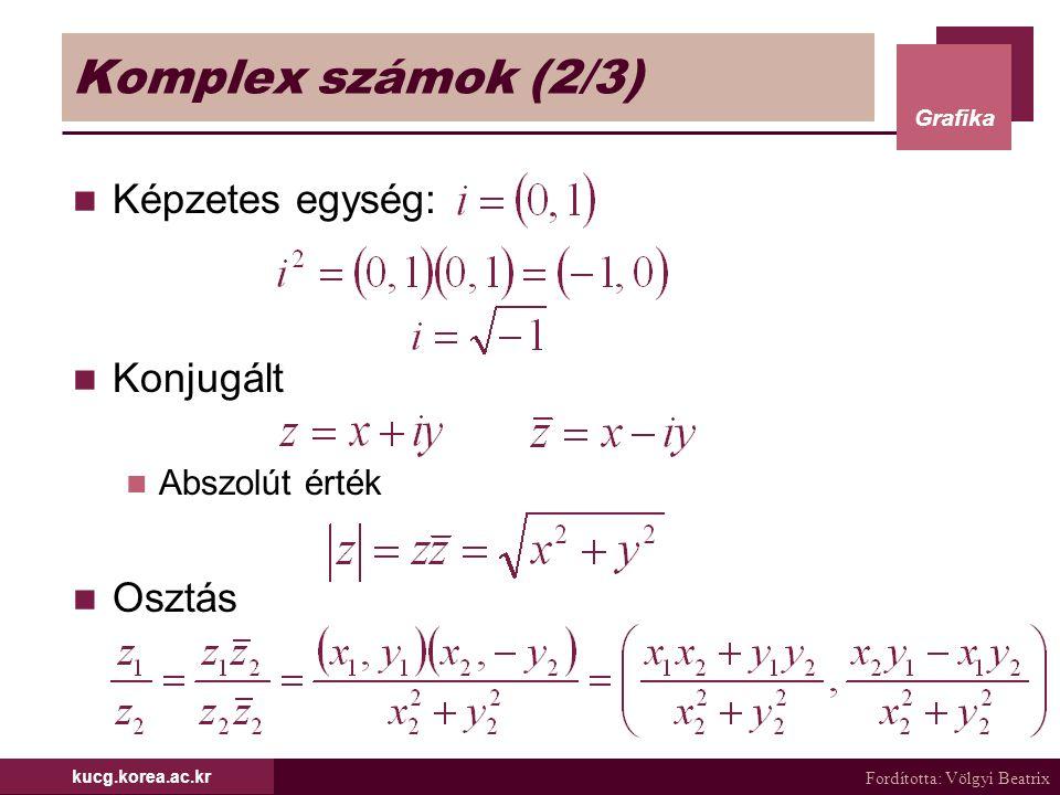 Fordította: Völgyi Beatrix Grafika kucg.korea.ac.kr Komplex számok (2/3) Képzetes egység: Konjugált Abszolút érték Osztás