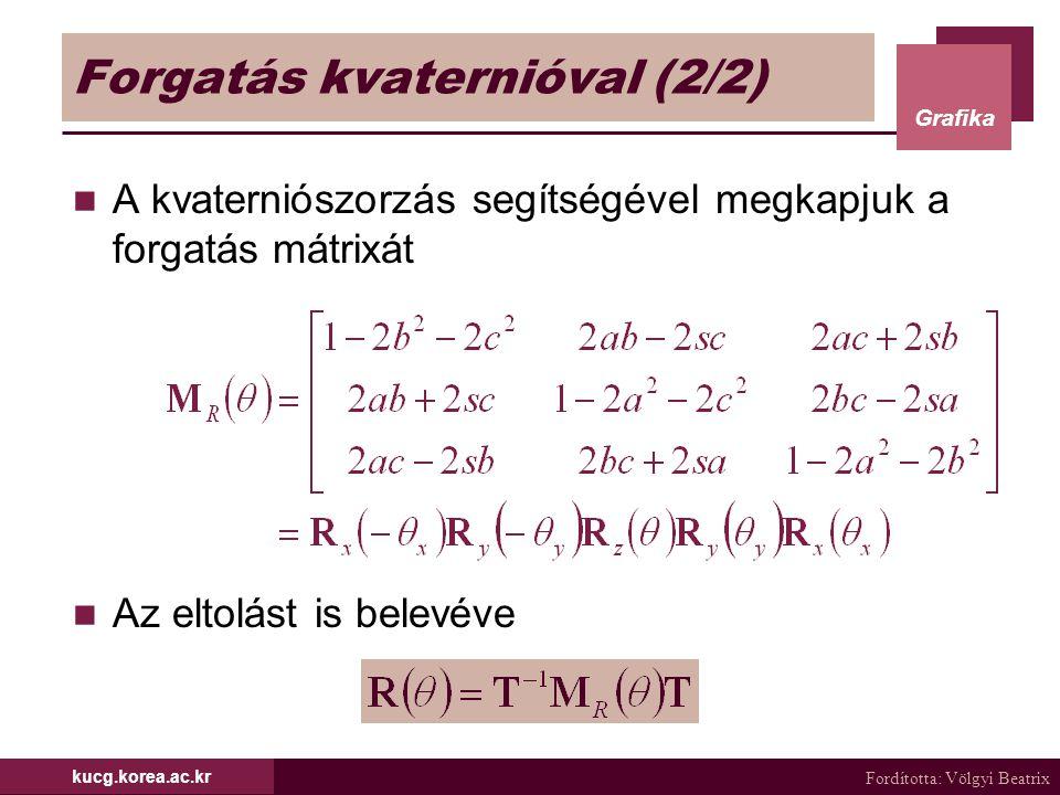 Fordította: Völgyi Beatrix Grafika kucg.korea.ac.kr Forgatás kvaternióval (2/2) A kvaterniószorzás segítségével megkapjuk a forgatás mátrixát Az eltol