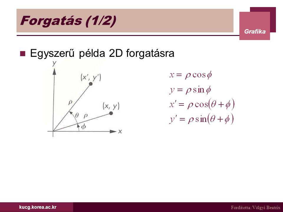 Fordította: Völgyi Beatrix Grafika kucg.korea.ac.kr Tetsz ő leges tengely körüli forgatás (6/6) Végül konkatenáljuk a három mátrixot Feladat) Forgass egy tárgyat egy, az origón átmenő egyenes körül 45°-kal