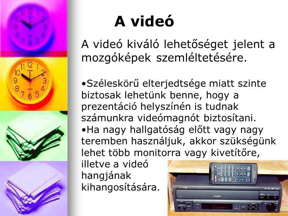 A videó A videó kiváló lehetőséget jelent a mozgóképek szemléltetésére. Széleskörű elterjedtsége miatt szinte biztosak lehetünk benne, hogy a prezentá