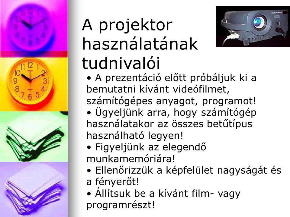 A prezentáció előtt próbáljuk ki a bemutatni kívánt videófilmet, számítógépes anyagot, programot! Ügyeljünk arra, hogy számítógép használatakor az öss