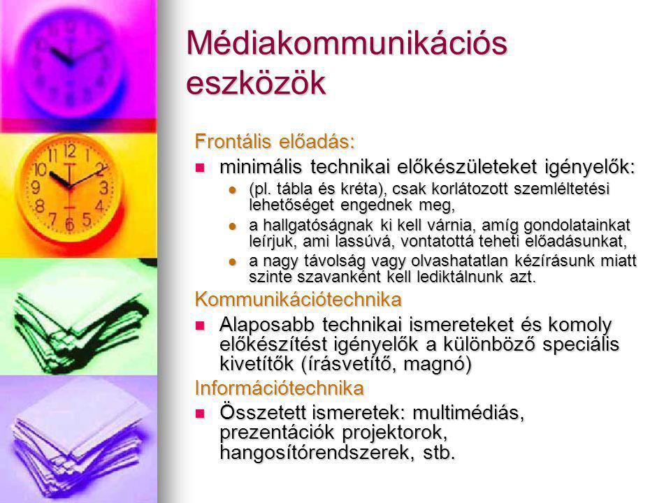 Médiakommunikációs eszközök Frontális előadás: minimális technikai előkészületeket igényelők: minimális technikai előkészületeket igényelők: (pl. tábl