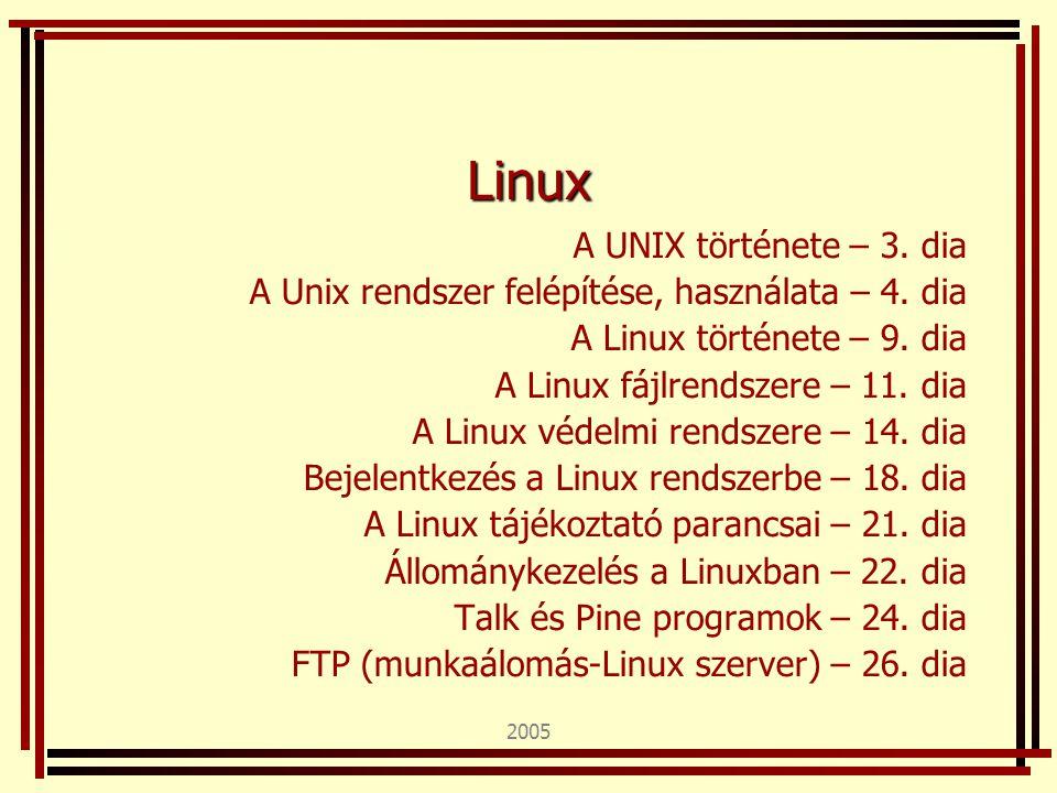 2005 Linux A UNIX története – 3. dia A Unix rendszer felépítése, használata – 4. dia A Linux története – 9. dia A Linux fájlrendszere – 11. dia A Linu