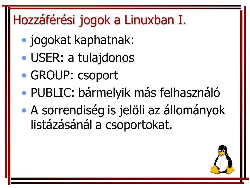 Hozzáférési jogok a Linuxban I. jogokat kaphatnak: USER: a tulajdonos GROUP: csoport PUBLIC: bármelyik más felhasználó A sorrendiség is jelöli az állo