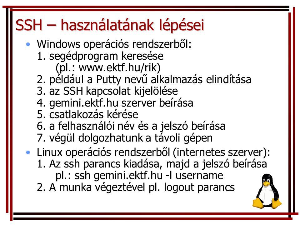 SSH – használatának lépései Windows operációs rendszerből: 1. segédprogram keresése (pl.: www.ektf.hu/rik) 2. például a Putty nevű alkalmazás elindítá