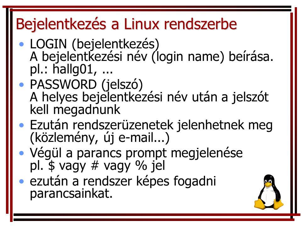 Bejelentkezés a Linux rendszerbe LOGIN (bejelentkezés) A bejelentkezési név (login name) beírása. pl.: hallg01,... PASSWORD (jelszó) A helyes bejelent