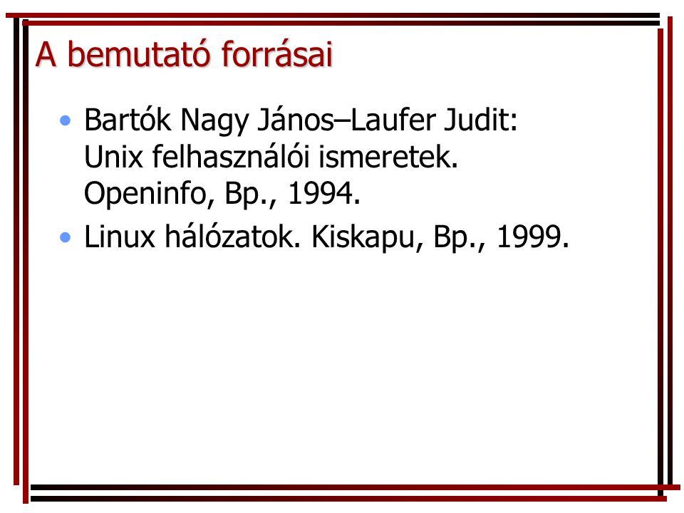 A bemutató forrásai Bartók Nagy János–Laufer Judit: Unix felhasználói ismeretek. Openinfo, Bp., 1994. Linux hálózatok. Kiskapu, Bp., 1999.