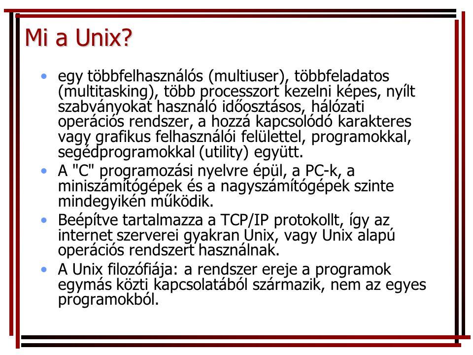 Mi a Unix? egy többfelhasználós (multiuser), többfeladatos (multitasking), több processzort kezelni képes, nyílt szabványokat használó időosztásos, há