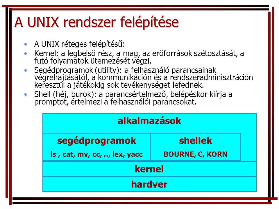 A UNIX rendszer felépítése A UNIX réteges felépítésű: Kernel: a legbelső rész, a mag, az erőforrások szétosztását, a futó folyamatok ütemezését végzi.