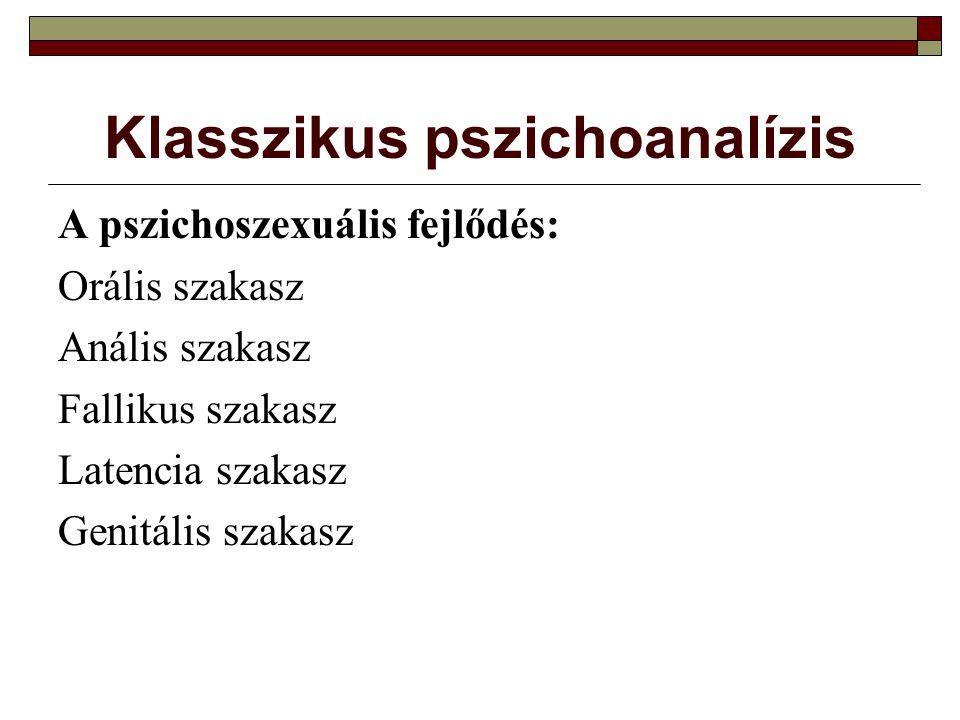 Klasszikus pszichoanalízis A pszichoszexuális fejlődés: Orális szakasz Anális szakasz Fallikus szakasz Latencia szakasz Genitális szakasz