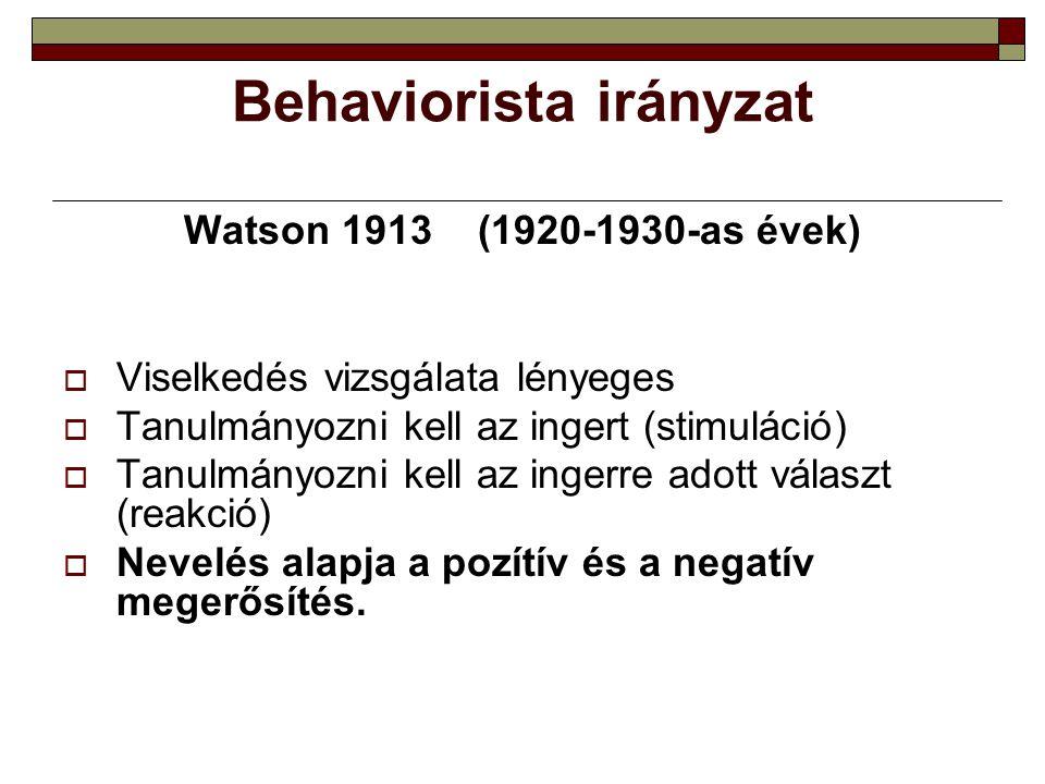 Behaviorista irányzat Watson 1913 (1920-1930-as évek)  Viselkedés vizsgálata lényeges  Tanulmányozni kell az ingert (stimuláció)  Tanulmányozni kel