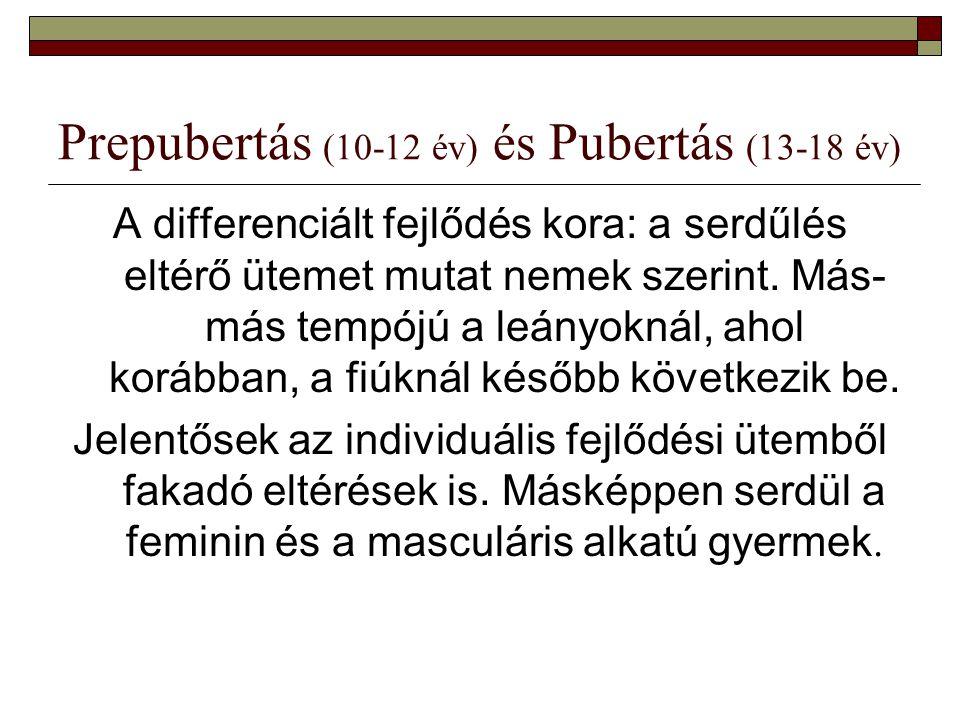 Prepubertás (10-12 év) és Pubertás (13-18 év) A differenciált fejlődés kora: a serdűlés eltérő ütemet mutat nemek szerint. Más- más tempójú a leányokn