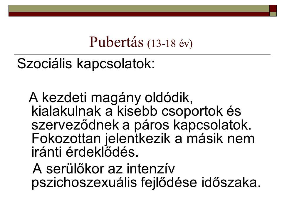 Pubertás (13-18 év) Szociális kapcsolatok: A kezdeti magány oldódik, kialakulnak a kisebb csoportok és szerveződnek a páros kapcsolatok. Fokozottan je