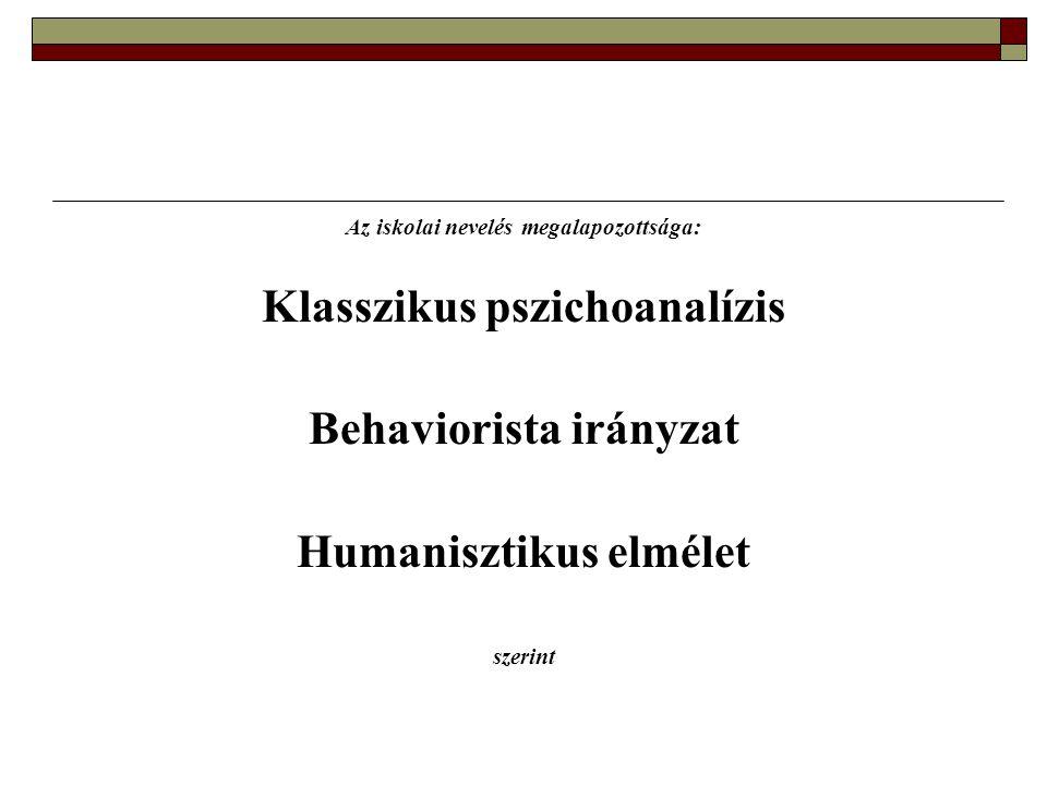 Az iskolai nevelés megalapozottsága: Klasszikus pszichoanalízis Behaviorista irányzat Humanisztikus elmélet szerint
