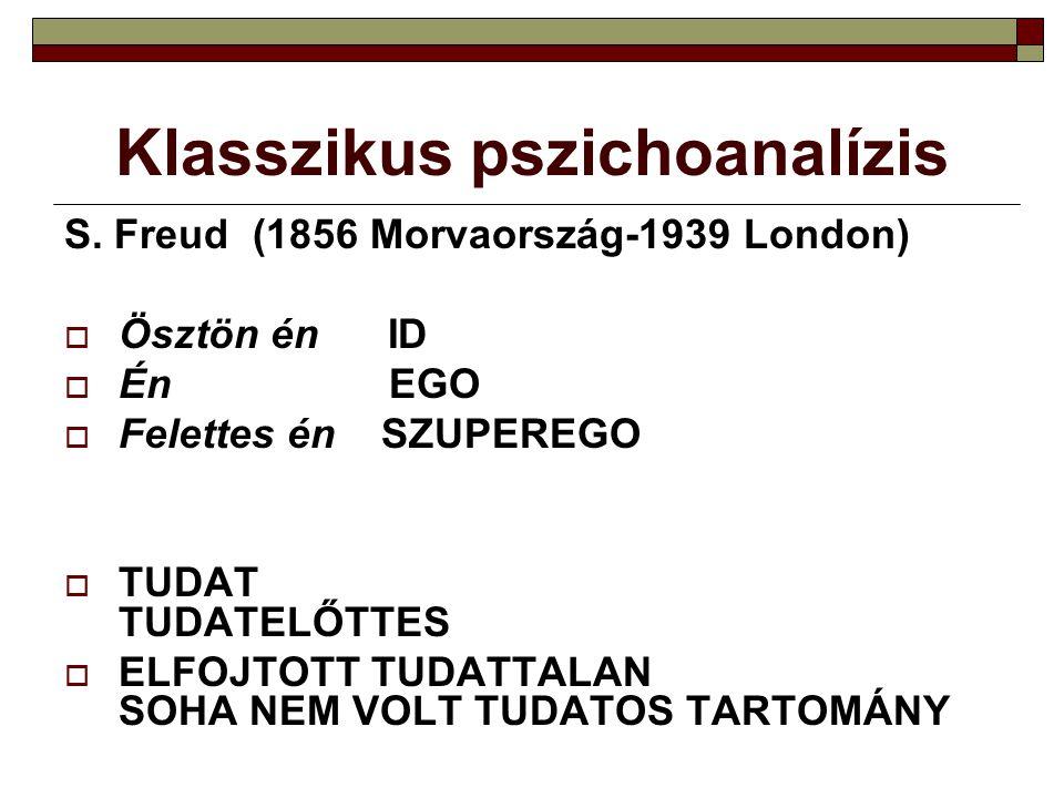 Klasszikus pszichoanalízis S. Freud (1856 Morvaország-1939 London)  Ösztön én ID  Én EGO  Felettes én SZUPEREGO  TUDAT TUDATELŐTTES  ELFOJTOTT TU