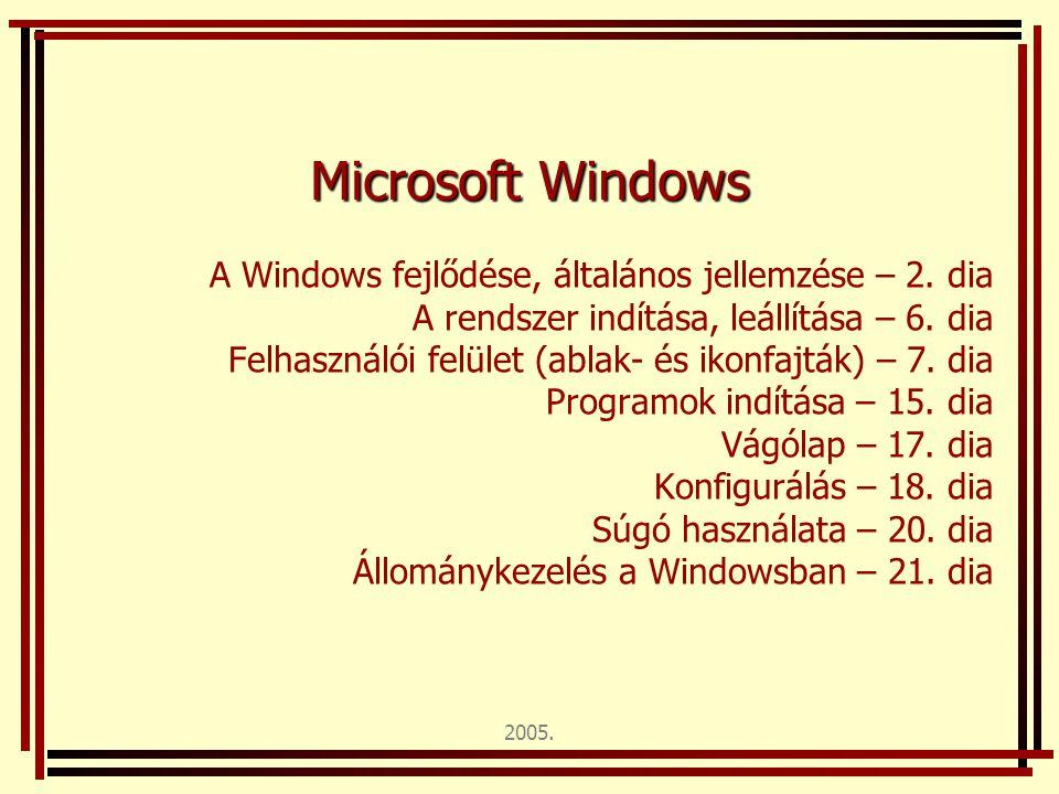 2005. Microsoft Windows A Windows fejlődése, általános jellemzése – 2. dia A rendszer indítása, leállítása – 6. dia Felhasználói felület (ablak- és ik