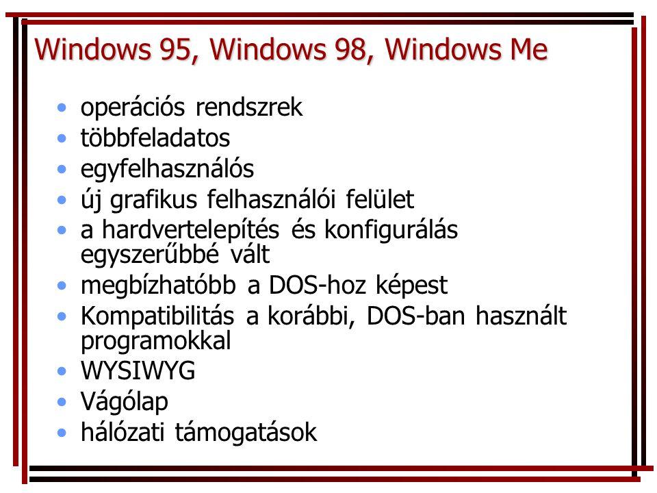 Windows 95, Windows 98, Windows Me operációs rendszrek többfeladatos egyfelhasználós új grafikus felhasználói felület a hardvertelepítés és konfigurál