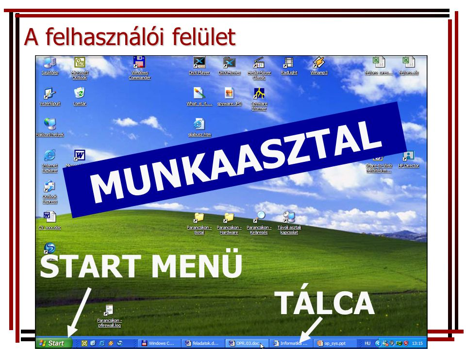 A felhasználói felület Parancsok kiadásával MUNKAASZTAL TÁLCA START MENÜ