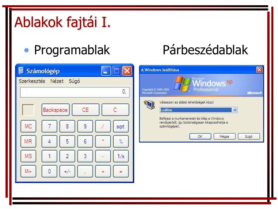 Ablakok fajtái I. ProgramablakPárbeszédablak