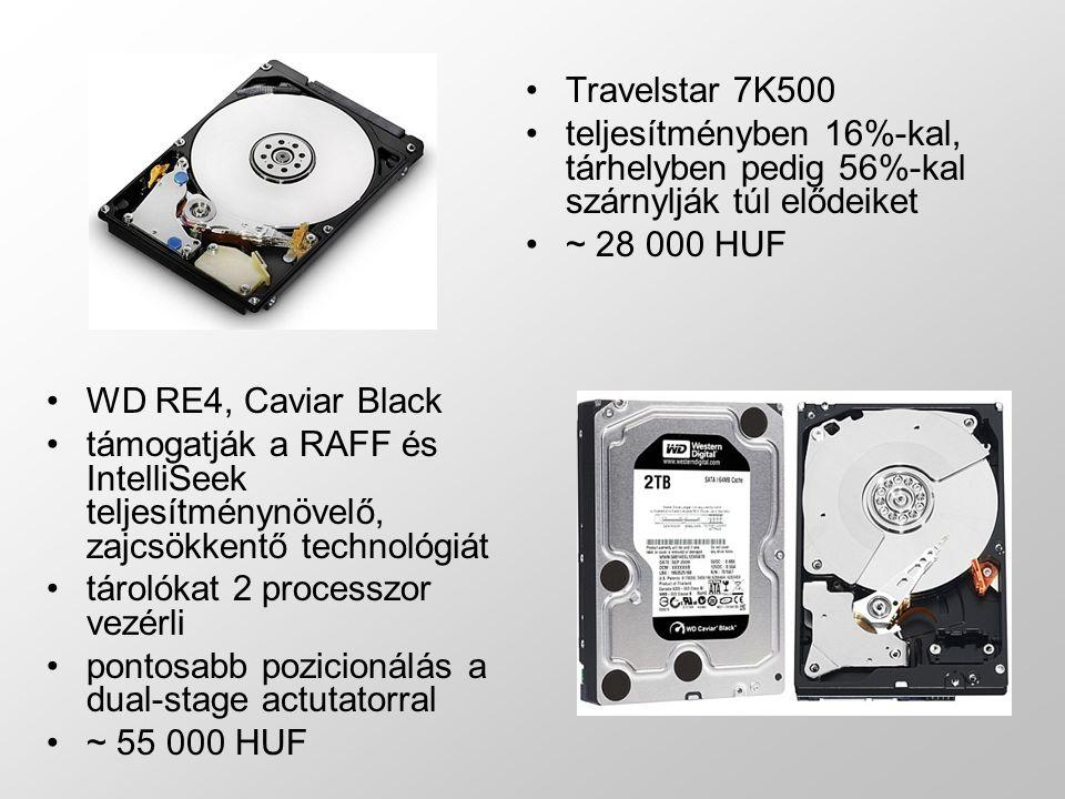 Travelstar 7K500 teljesítményben 16%-kal, tárhelyben pedig 56%-kal szárnylják túl elődeiket ~ 28 000 HUF WD RE4, Caviar Black támogatják a RAFF és IntelliSeek teljesítménynövelő, zajcsökkentő technológiát tárolókat 2 processzor vezérli pontosabb pozicionálás a dual-stage actutatorral ~ 55 000 HUF