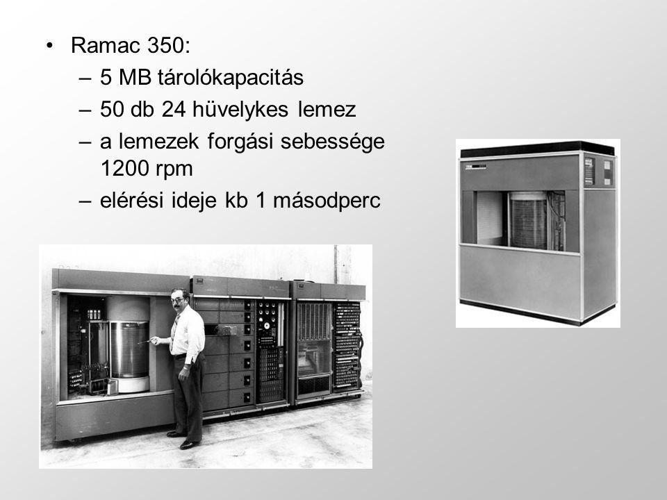 Ramac 350: –5 MB tárolókapacitás –50 db 24 hüvelykes lemez –a lemezek forgási sebessége 1200 rpm –elérési ideje kb 1 másodperc